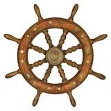 Vintage ship steering wheel isolated on white Stock Photo