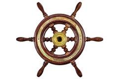 Vintage ship steering wheel isolated on white Stock Photos