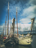 Vintage ships. Dutch vintage ships on the docks Stock Images
