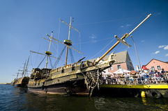Vintage ships in port. Short sea trips on board of vintage sailing ships are great touristic attraction for people visiting Darlowo, Poland, the Baltic Sea Stock Photos