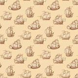 Vintage ships seamless pattern. Antique boats texture vector illustration