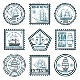 Vintage Ships And Vessels Stamps Set. With inscriptions boats navigational compass and anchor isolated vector illustration Stock Photo