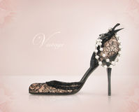 Vintage shoe. Enriched with lace and pearls Royalty Free Stock Image