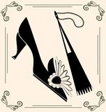 vintage shoe and fan Stock Images