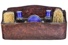 Vintage shoe polish set isolated on white Royalty Free Stock Photos