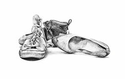 Vintage shoes, hand drawn illustration Royalty Free Stock Images