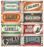 Vintage shop signs collection Stock Images