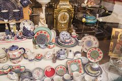 Shop of traditional crockery in Cracow. Vintage shop of traditional ceramic crockery in summer Cracow, country Poland stock photo