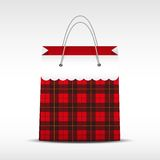 Vintage shopping bag in check texture Royalty Free Stock Photo