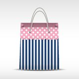 Vintage shopping bag in stripes texture Stock Photo