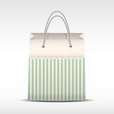 Vintage shopping bag in stripes texture Stock Image