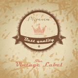 Vintage shopping heraldic label on faded paper Stock Images