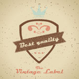 Vintage shopping heraldic label on faded paper Stock Photos
