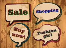 Vintage shopping themed speech bubbles Stock Photo