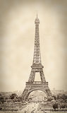 Vintage Shot of the Eiffel Tower, in sepia, Paris, France Stock Images