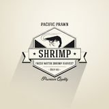 Vintage Shrimp badge in flat design style Stock Photos