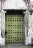 Vintage side entrance in Church of St James the Apostle in Torun. Poland stock photo