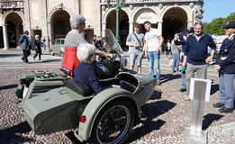 Vintage sidecar of italian Police with two old ladies over, Bergamo, Italy Royalty Free Stock Image