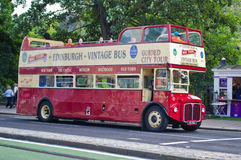 Vintage sightseeing bus in Edinburgh. Royalty Free Stock Photo