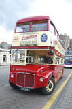 Vintage sightseeing bus in Edinburgh. Royalty Free Stock Images