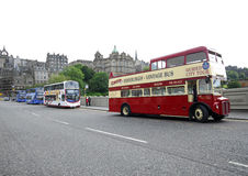 Vintage sightseeing bus in Edinburgh. Stock Photos