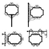 Vintage Sign. Black and white wrought iron vintage signs set Royalty Free Stock Image