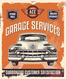 Vintage sign - Advertising poster - Classic car - Garage. Vintage retro style sign. Metal tin advertising poster royalty free illustration