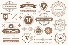 Free Vintage Sign Borders. Elegant Frame, Luxurious Old Design And Antique Typography Border Vector Set Stock Image - 161574621