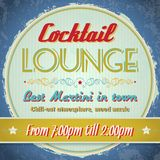 Vintage sign - Cocktail Lounge Stock Image