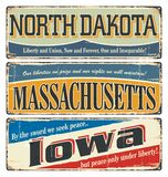 Vintage sign collection with US state. North Dakota. Massachusetts. Iowa. Retro souvenirs or postcard templates on rust backgroun. Vintage tin sign collection Stock Image