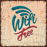 Vintage sign with Free wifi symbol Stock Photo