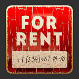 Vintage sign with the inscription For Rent Stock Photos