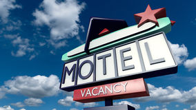 Vintage sign of a motel. A 3D rendered image of a classic model motel billboard. A big retro designed sign in front of a sunny blue sky Royalty Free Stock Images