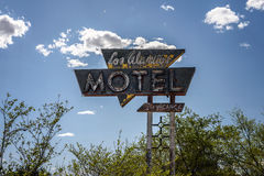 Vintage  sign near former Los Alamitos Motel on historic Route 66 Stock Images