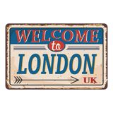 Retro welcome to London Vintage sign. Travel destinations theme on old rusty background. Vintage sign Travel destinations theme on old rusty background vector illustration