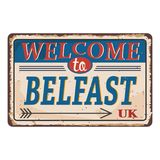 UK cities retro welcome to Belfast Vintage sign. Travel destinations theme on old rusty background. Vintage sign Travel destinations theme on old rusty royalty free illustration