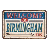UK cities retro welcome to Birmingham Vintage sign. Travel destinations theme on old rusty background. Vintage sign Travel destinations theme on old rusty royalty free illustration