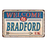 UK cities retro welcome to Bradford Vintage sign. Travel destinations theme on old rusty background. Vintage sign Travel destinations theme on old rusty vector illustration