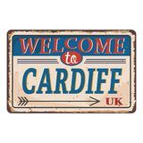 UK cities retro welcome to Cardiff Vintage sign. Travel destinations theme on old rusty background. Vintage sign Travel destinations theme on old rusty stock illustration