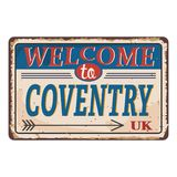 UK cities retro welcome to coventry Vintage sign. Travel destinations theme on old rusty background. Vintage sign Travel destinations theme on old rusty stock illustration