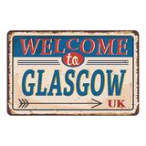 UK cities retro welcome to Glasgow Vintage sign. Travel destinations theme on old rusty background. Vintage sign Travel destinations theme on old rusty vector illustration