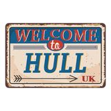 UK cities retro welcome to hull Vintage sign. Travel destinations theme on old rusty background. Vintage sign Travel destinations theme on old rusty background vector illustration