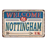 UK cities retro welcome to Nottingham Vintage sign. Travel destinations theme on old rusty background. Vintage sign Travel destinations theme on old rusty stock illustration