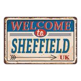 UK cities retro welcome to Sheffield Vintage sign. Travel destinations theme on old rusty background. Vintage sign Travel destinations theme on old rusty stock illustration