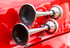 Vintage signal horn on a historic fire truck Stock Photos
