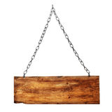 Vintage signboard on chain. On white background royalty free stock images
