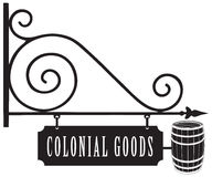 Vintage signboard colonial goods Stock Photography