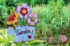 Vintage Signboard in the garden Royalty Free Stock Image