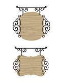 Vintage signs. Wooden wrought iron vintage signs. Vector illustration Royalty Free Stock Image
