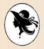 Vintage silhouette of beautiful girl in hat. Royalty Free Stock Photography
